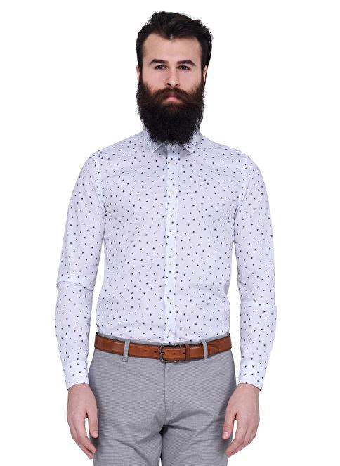 Lufian Desenli Slim Fit Uzun Kollu Gömlek Beyaz